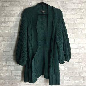 Express medium hunter green heavy cardigan sweater